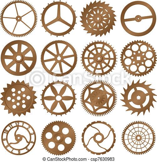 conjunto, -, reloj, vector, diseño, engranajes, elementos - csp7630983