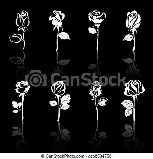 Icones de flores rosas con reflejos, de fondo negro - csp8534758