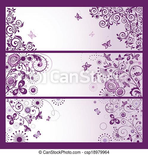 Un conjunto de banderas de saludo horizontales violetas - csp18979964