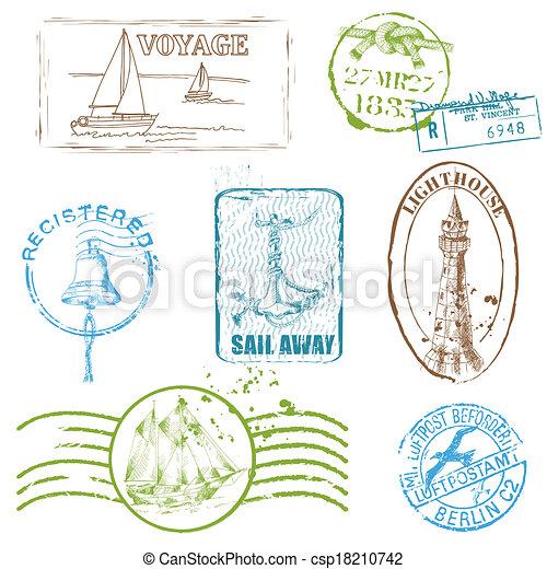 Vector Set de sellos Retro SEA para diseño y álbum de recortes - csp18210742
