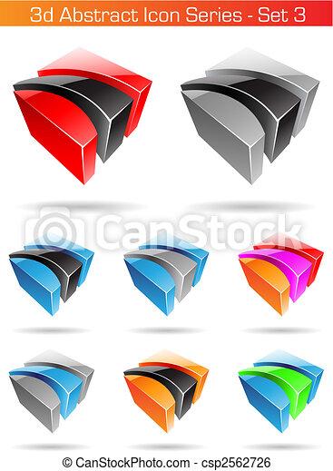 3D serie de iconos abstractos - set 3 - csp2562726