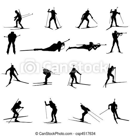 Biathlon silueta puesta - csp4517634