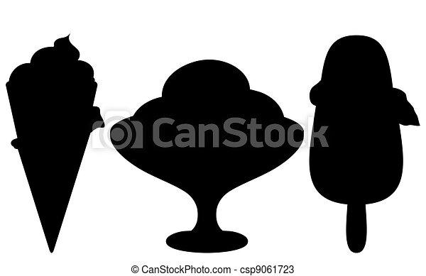 conjunto, silueta, helado - csp9061723