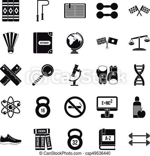 Iconos universitarios, estilo simple - csp49536440
