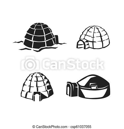 Igloo set de icono, estilo simple - csp61037055