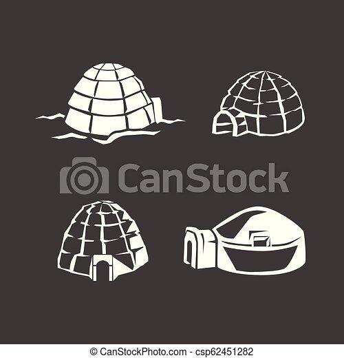 Igloo set de icono, estilo simple - csp62451282