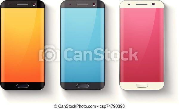 conjunto, smartphones - csp74790398