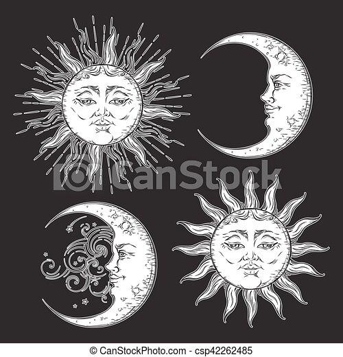 Conjunto Sol Luna Boho Vetor Dibujado Mano Antigüedad Estilo