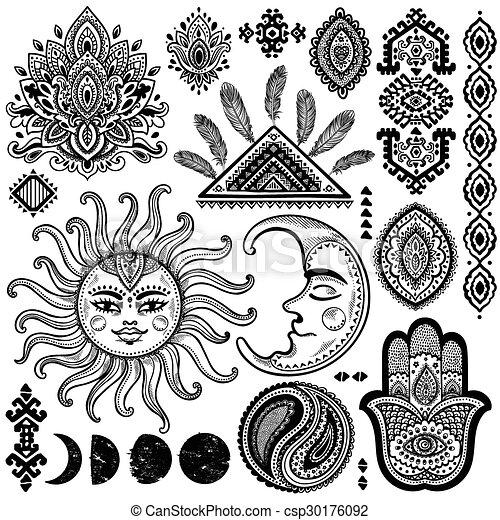 Conjunto Sol Vendimia Luna Vector Ornamentos Conjunto