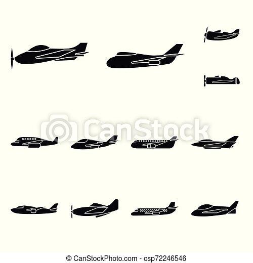 Diseño vector de transporte y icono de navegación. Icono vector de transporte y aeronave para acciones. - csp72246546