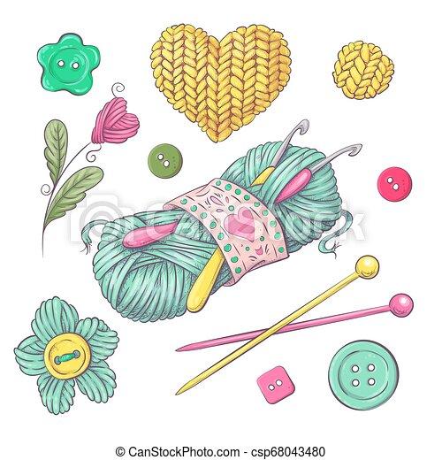 Un conjunto de ropa tejida agujas de tejer. Dibujo a mano. Ilustración de vectores - csp68043480
