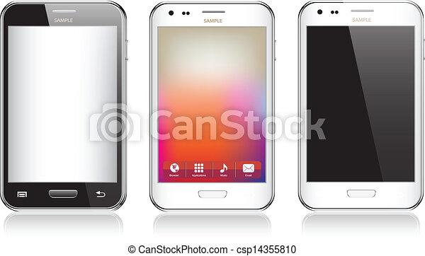 Un set de tres teléfonos móviles realistas aislados en fondo blanco - csp14355810