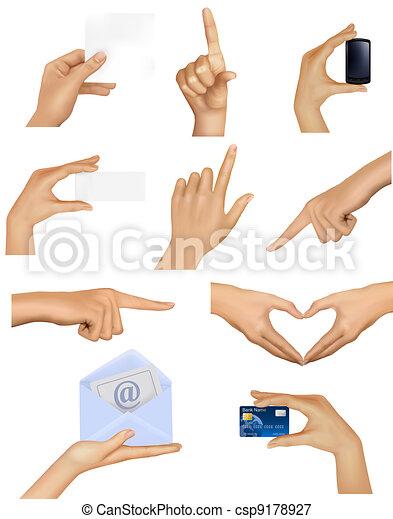 conjunto, tenencia, objetos, manos - csp9178927