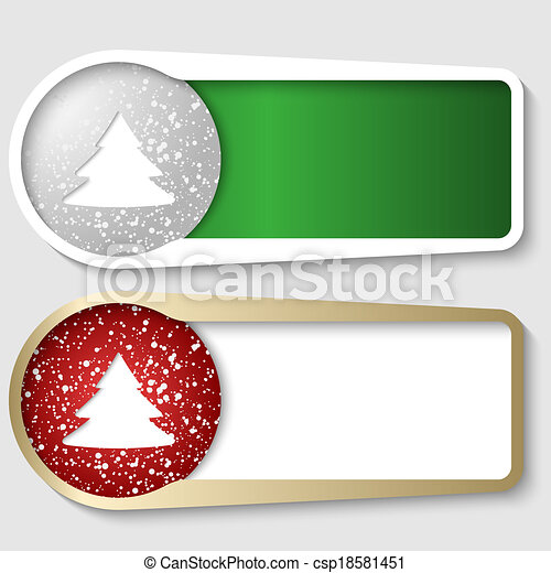 Dos cajas para cualquier mensaje con un árbol de Navidad - csp18581451