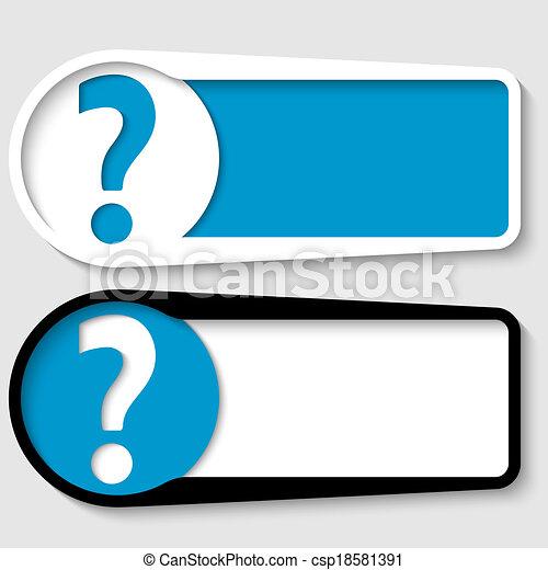 Dos cajas para cualquier mensaje con signo de interrogación - csp18581391