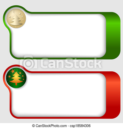 Dos marcos de texto abstractos con un árbol de Navidad - csp18584306