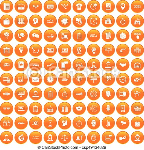100 horas de trabajo iconos se ponen naranja - csp49434829