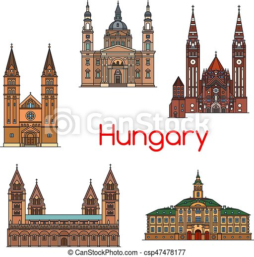 Vista turística de la línea de icono Hungría - csp47478177