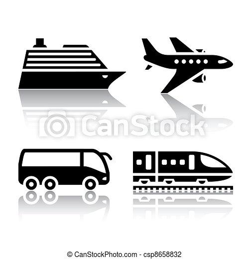 Juego de iconos de transporte: turista - csp8658832