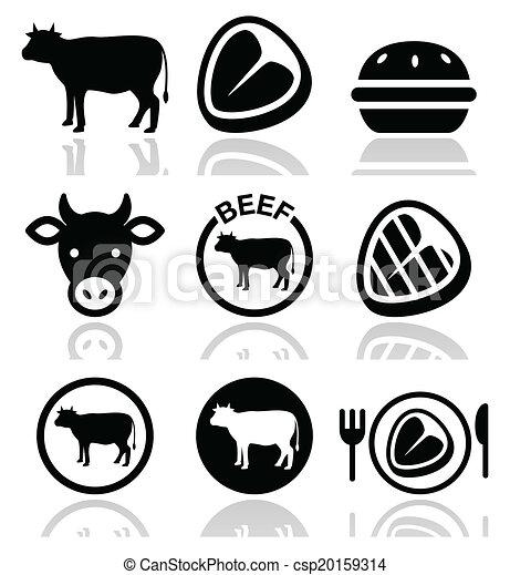 Carne de ternera, icono vector vaca - csp20159314