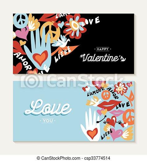 Día de San Valentín con mano dibujado elementos de paz - csp33774514