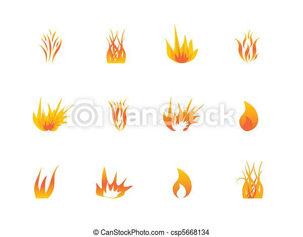 Varios ícono de llamas - csp5668134