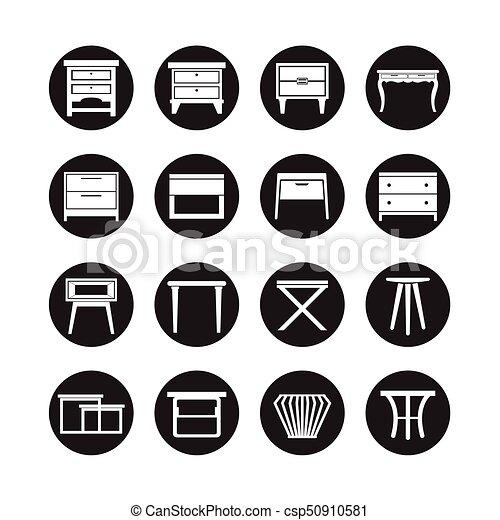 Vector de mesa lateral, icono de muebles - csp50910581