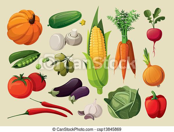 Un juego de vegetales deliciosos. - csp13845869