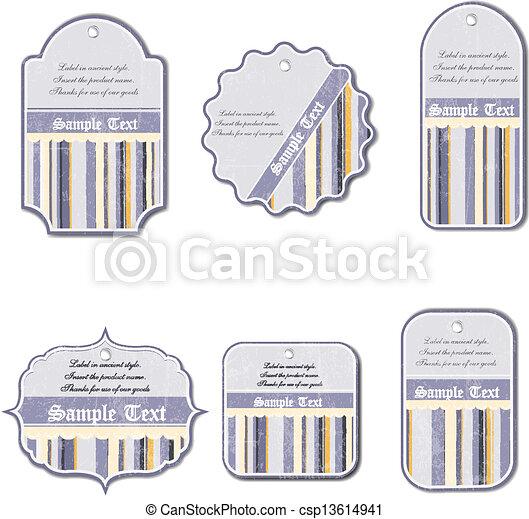 Un conjunto de etiquetas antiguas aisladas en el fondo blanco - csp13614941