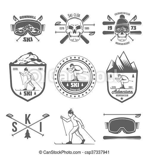 Un conjunto de etiquetas de esquí vintage y elementos de diseño - csp37337941