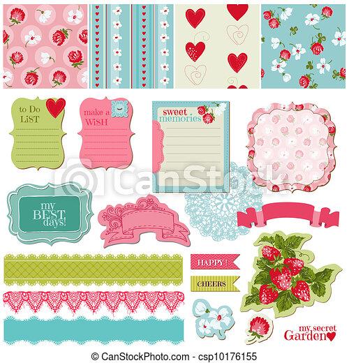 conjunto, vendimia, -, fresa, vector, diseño, álbum de recortes, flores, elementos - csp10176155