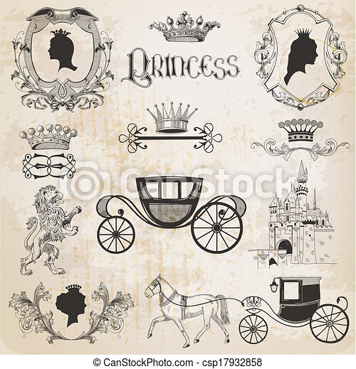 Una antigua princesa lista para diseño y álbum de recortes en vector - csp17932858