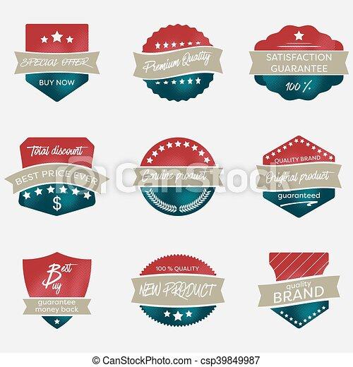 Un conjunto de insignias vectoriales vintage al estilo retro. - csp39849987