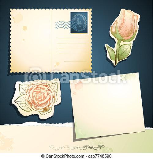 Tarjeta de vintaje puesta, vector - csp7748590