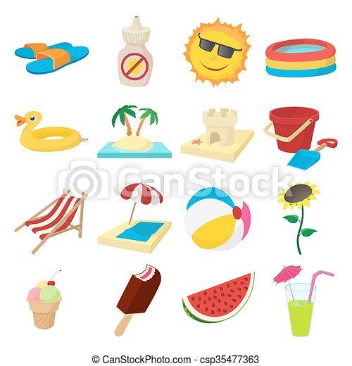 Íconos de verano, estilo de dibujos animados - csp35477363