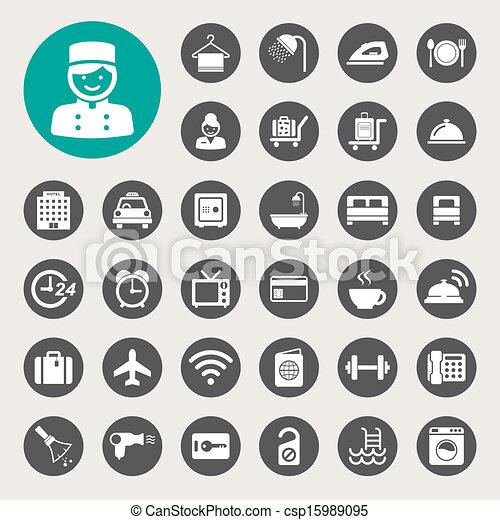 Hotel y icono de viaje - csp15989095