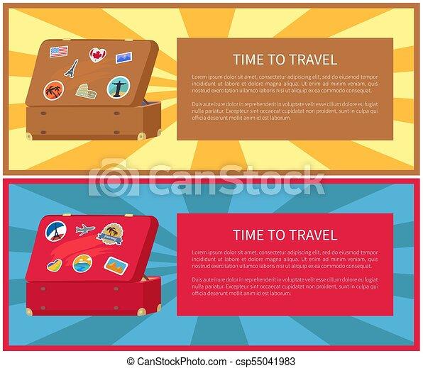 aa3dbaf58 Conjunto, viaje, ilustración, vector, tiempo, carteles. Letterings ...