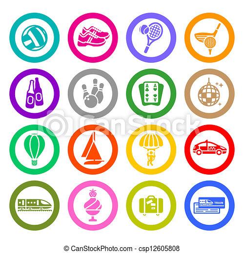 Recreación, vacaciones y viajes, iconos listos - csp12605808