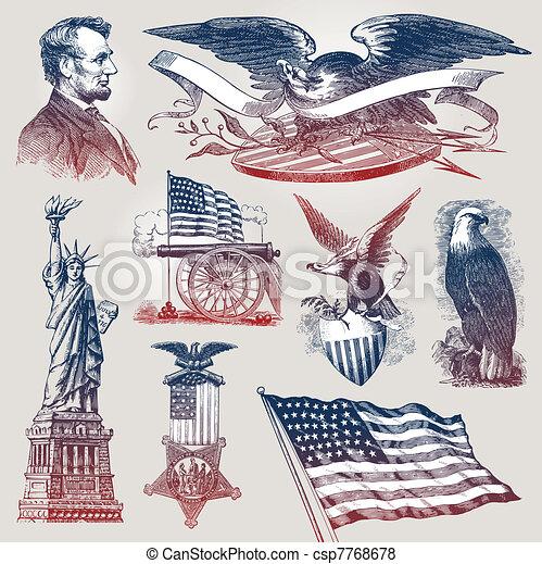 Vectores de emblemas patrióticos americanos y símbolos - csp7768678