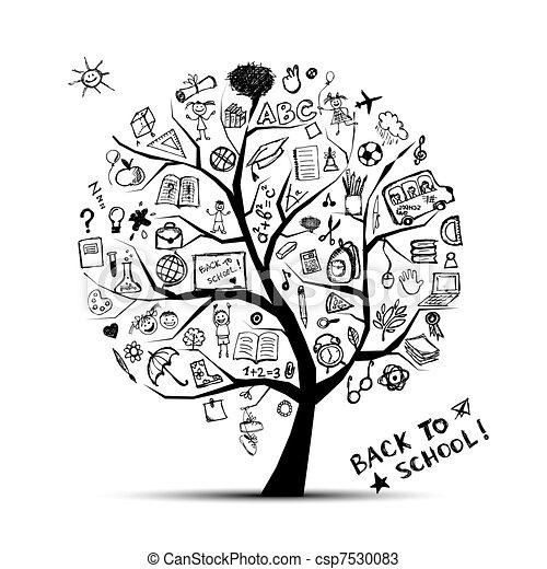 connaissance, concept, arbre, école, conception, ton - csp7530083