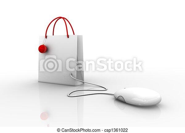 connecté, souris, informatique, achats, noël - csp1361022