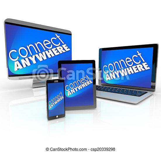connect anywhere computer laptop smart phone desktop