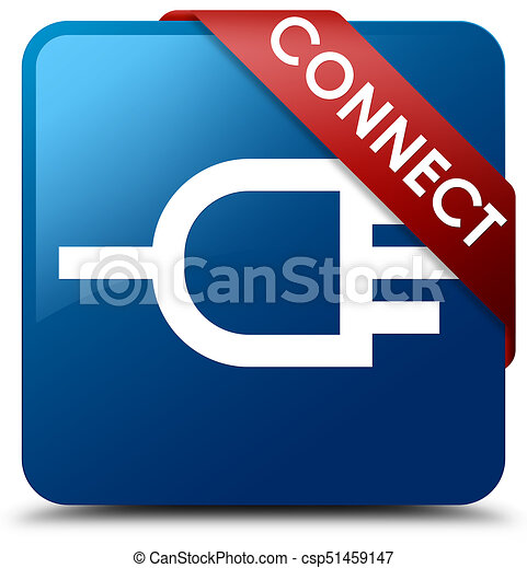Connect blue square button red ribbon in corner - csp51459147