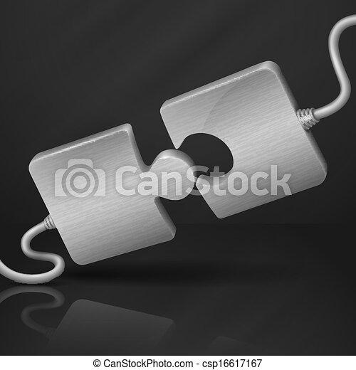 connect., metallo, puzzle. - csp16617167
