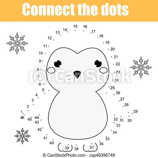 Connect the dots by numbers children educational game. Printable worksheet  activity. Animals theme, penguin