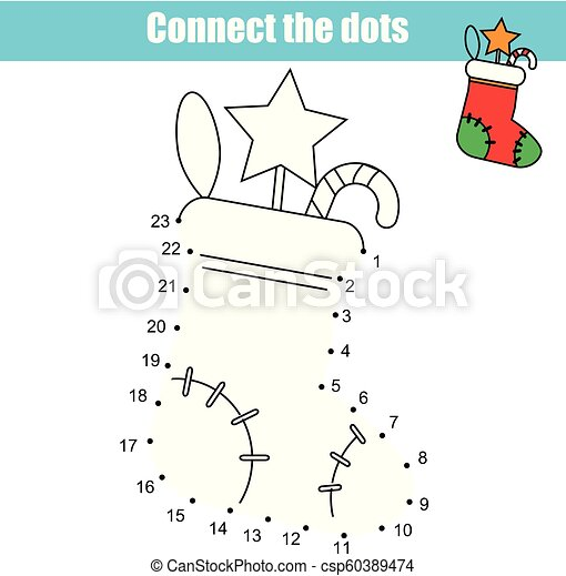 image regarding Dot Game Printable titled Communicate the dots as a result of figures youngsters insightful video game. Clean Calendar year topic, Xmas sock