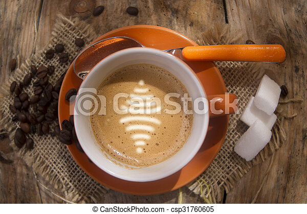 Connect With A Coffee Graphical Representation Of The Wifi Symbol