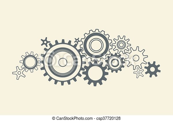connected cogs gears - csp37720128