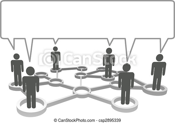 Connected symbol people in network nodes communicate in a speech bubble. - csp2895339