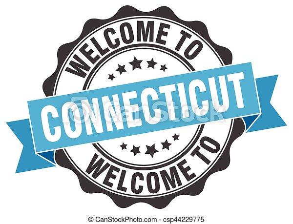 Connecticut round ribbon seal - csp44229775